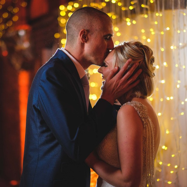 Bride and groom at Owen House Wedding Barn in Cheshire