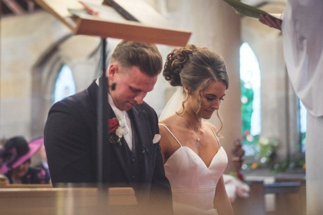 Bride and groom during Wirral wedding ceremony