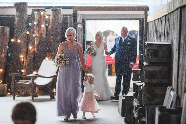 Snow coming down before wedding at Owen House in Cheshire