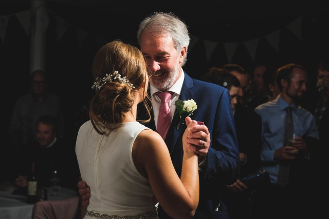 Bride dancing with father at wirral wedding in Holiday Inn Hoylake