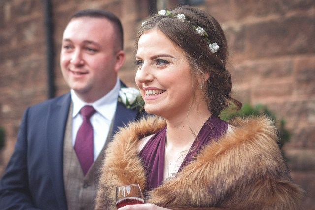 Guests at winter wedding in Cheshire