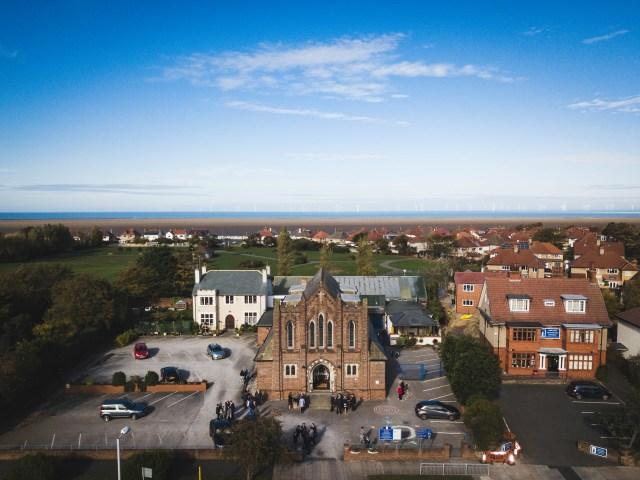 Drone wedding photography - Saint Catherine's Church in Hoylake