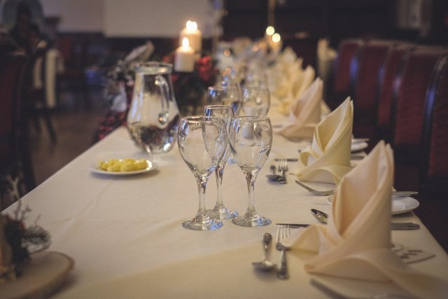 Wedding breakfast in the Drawing Room at Peckforton Castle
