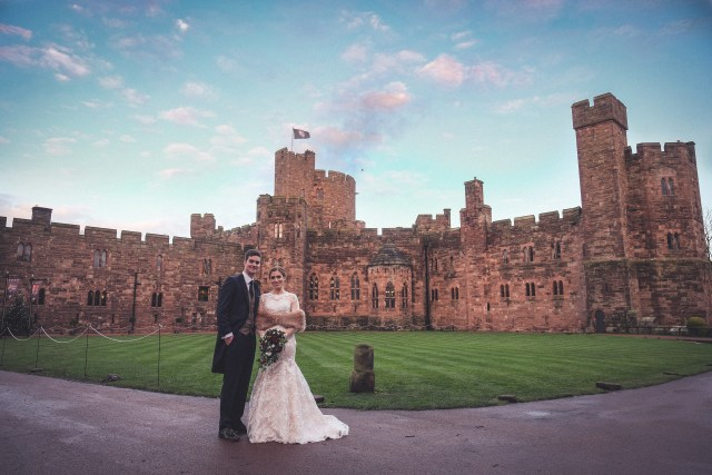 Traditional wedding photograph at Peckforton Castle