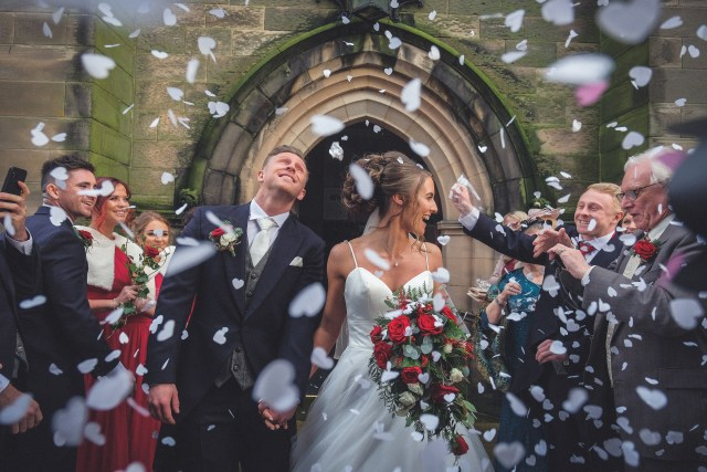 Amazing confetti image by Wirral wedding photographers