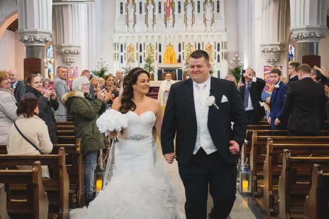 Bride and groom in Liverpool church