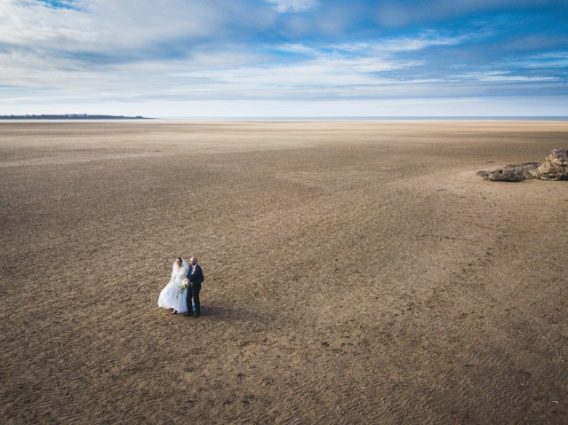 Drone wedding photography at Red Rocks on the Wirral