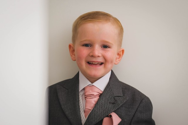Photography of page boy at Liverpool wedding