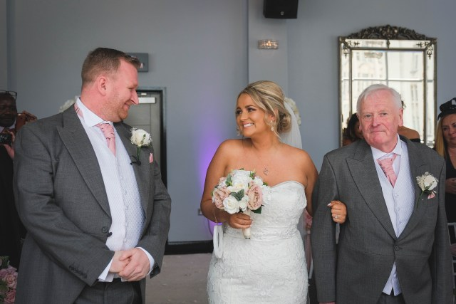 Bride walks down the aisle at The Bentley in Liverpool