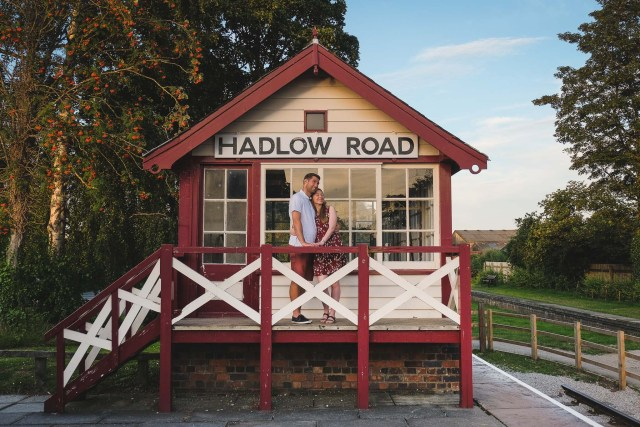 Couple in photograph by Hadlow Road Signal Box