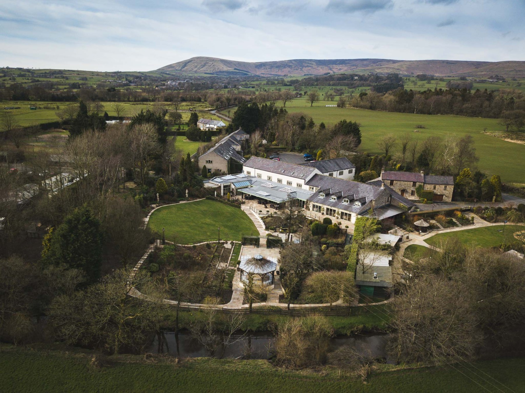 Drone image of Gibbon Bridge wedding venue in Lancashire