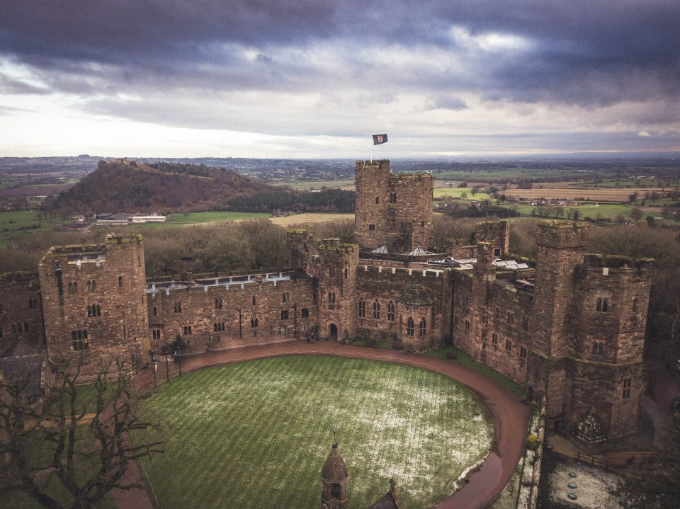 Wedding Videographer Cheshire -Drone Shot of Peckforton Castle Wedding Venue in Cheshire