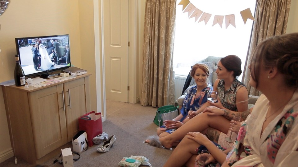 Watching the royal wedding while getting ready at Stirk House