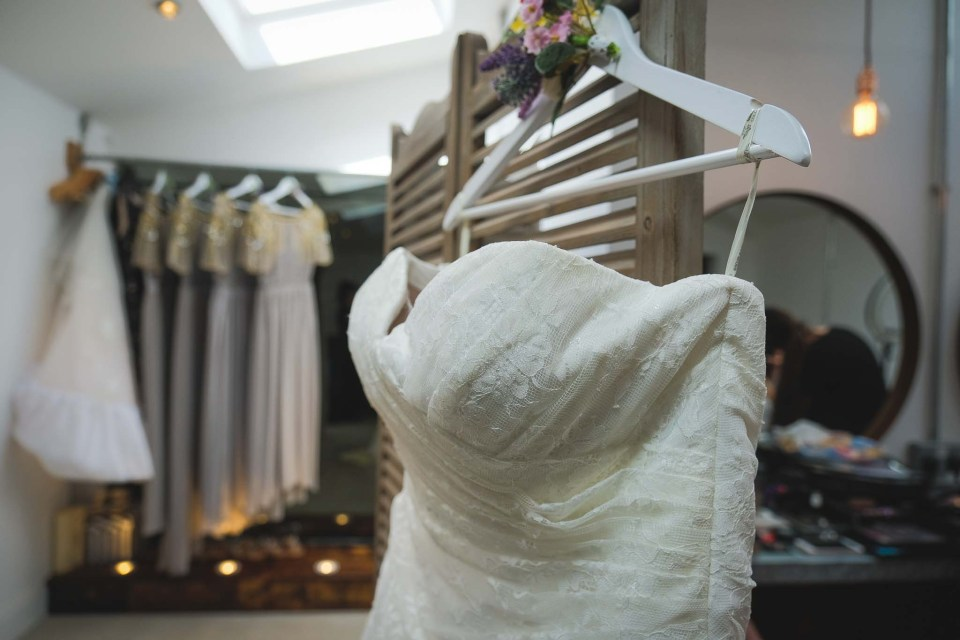 Wedding Dress in the Beauty Shed at Owen House Wedding Barn