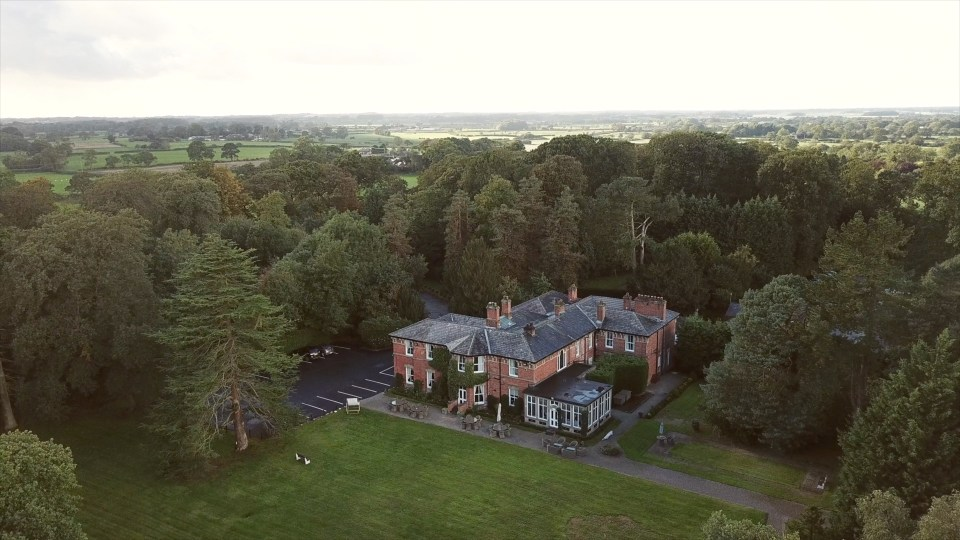 Bartle Hall wedding venue in Lancashire, drone image