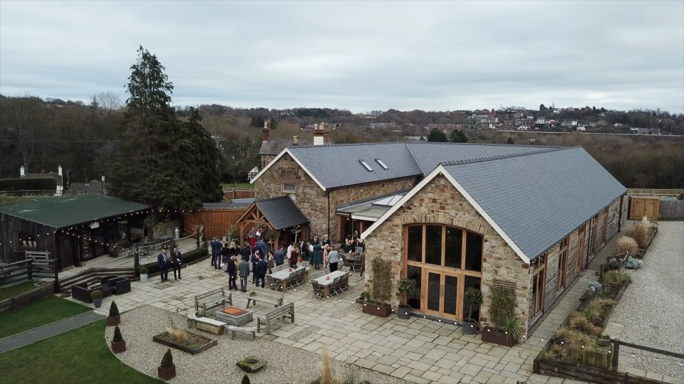 Aerial drone photograph of Tower Hill Barns wedding venue in North Wales