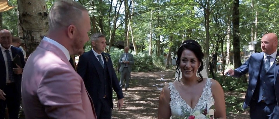 Wedding video still image of bride at Cheshire Woodland Weddings