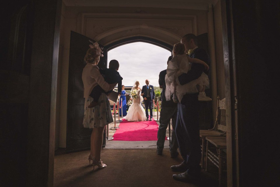 Bride and her father at Leasowe Castle Hotel