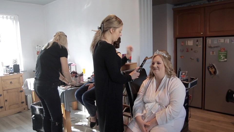 Bride getting ready for Lancashire wedding