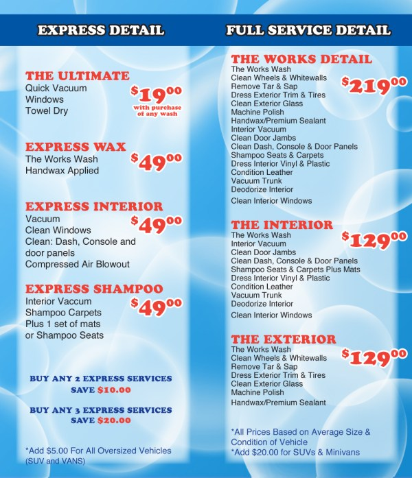 Mobile Auto Detailing Price List - Year of Clean Water