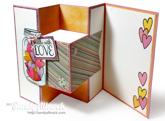 Sandy Allnock - Hero Arts Catalog Hop - Love Jar Trifold Shutter Card