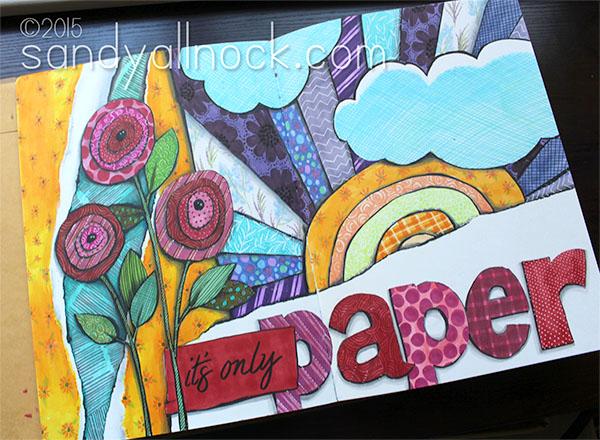 Sandy Allnock - Art Journal Patterned Paper Flowers