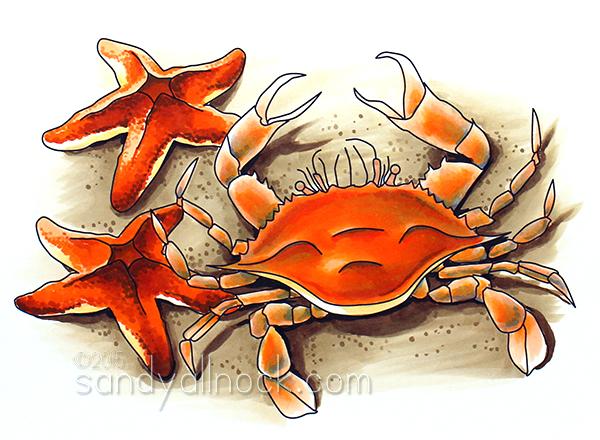 Sandy Allnock - Crab and Starfish Digital Stamp