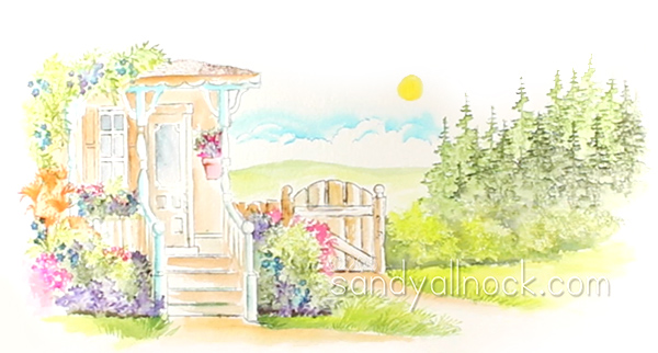 Sandy Allnock - Watercolor scene