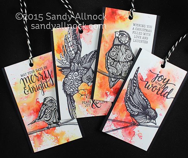 Sandy Allnock 24 Tags Zentangle Birds