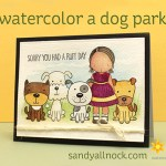 Watercolor a dog park