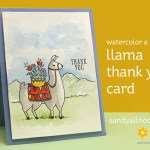 Watercolor a llama thank you card