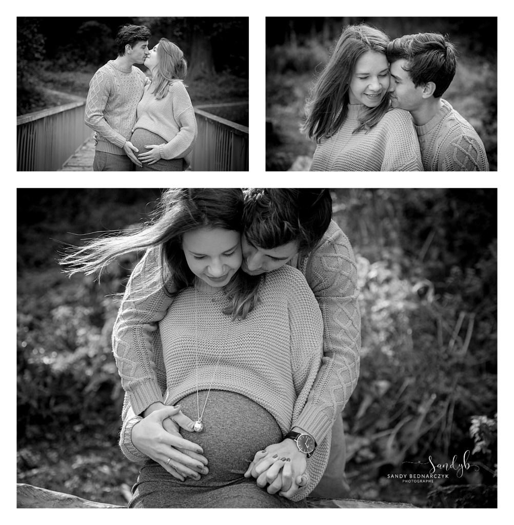 photo de grossesse en noir et blanc