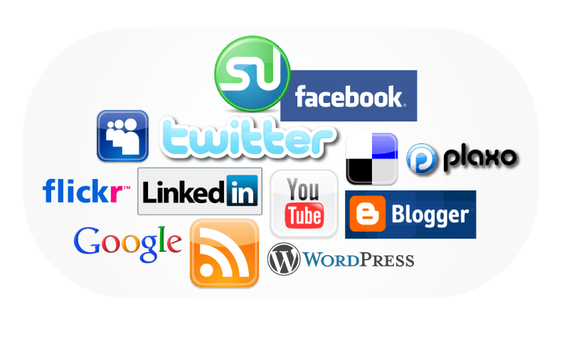 social media banners and icons and logos
