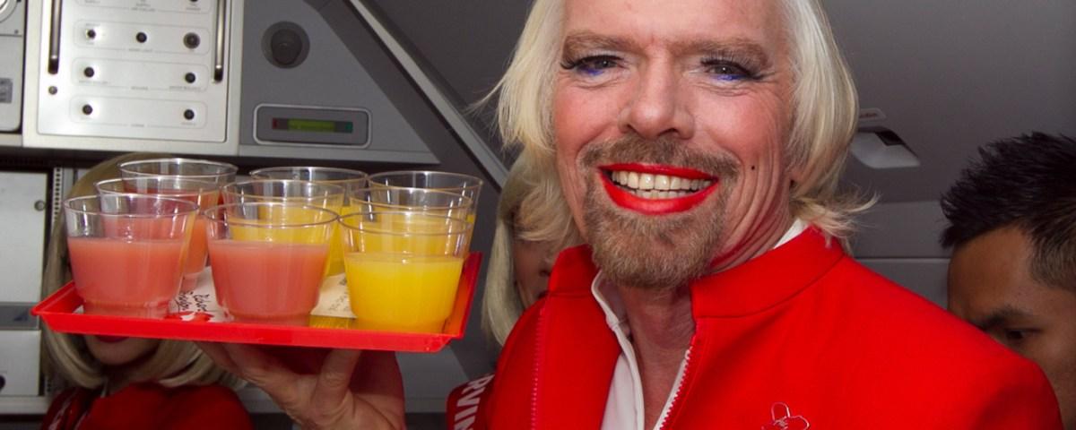 Richard Branson as a stewardess on Virgin Australia at www.lyricmarketing.com
