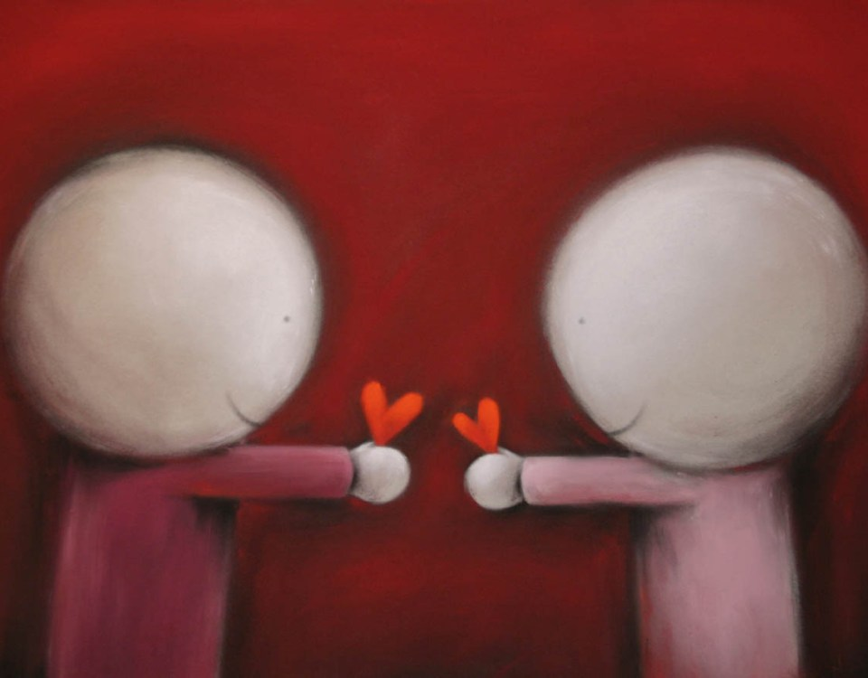 Illustration of two characters giving hearts to each other