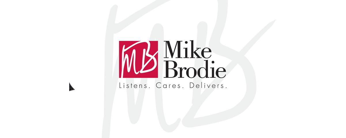 Mike Brodie logo designed by Sandy Hibbard Creative, inc plano texas