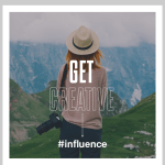 building instagram influence photo with woman holding her camera in the mountains #instabranding