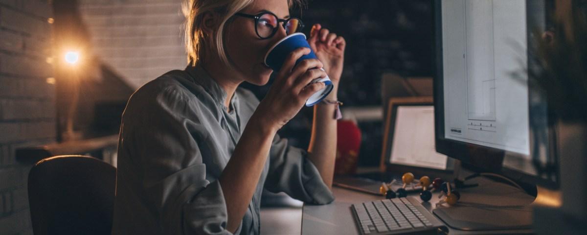 graphic designer working late drinking coffee sandy hibbard creative blog
