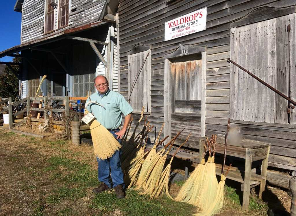 Marlow Gates of The Friendswood Broom at old Waldrop Store in Big Sandy Mush