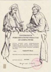 2014 Testimonium after walking Florence to Rome