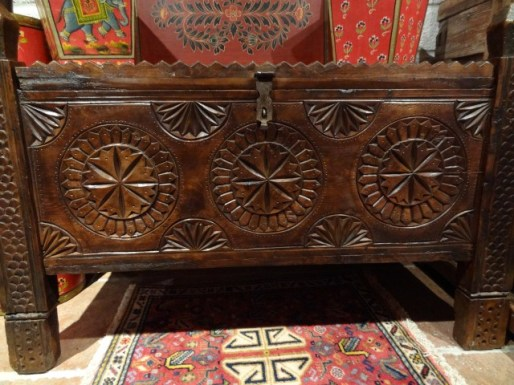 Mid 20th century carved wood storage chest from the Swat valley in northern Pakistan.