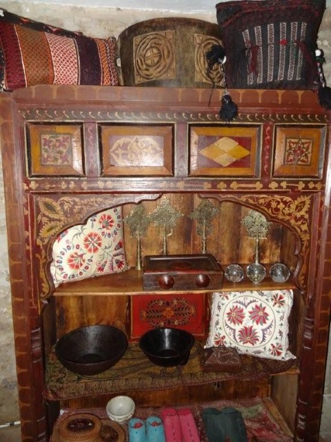 Painted carved wood bookcase from the Swat valley
