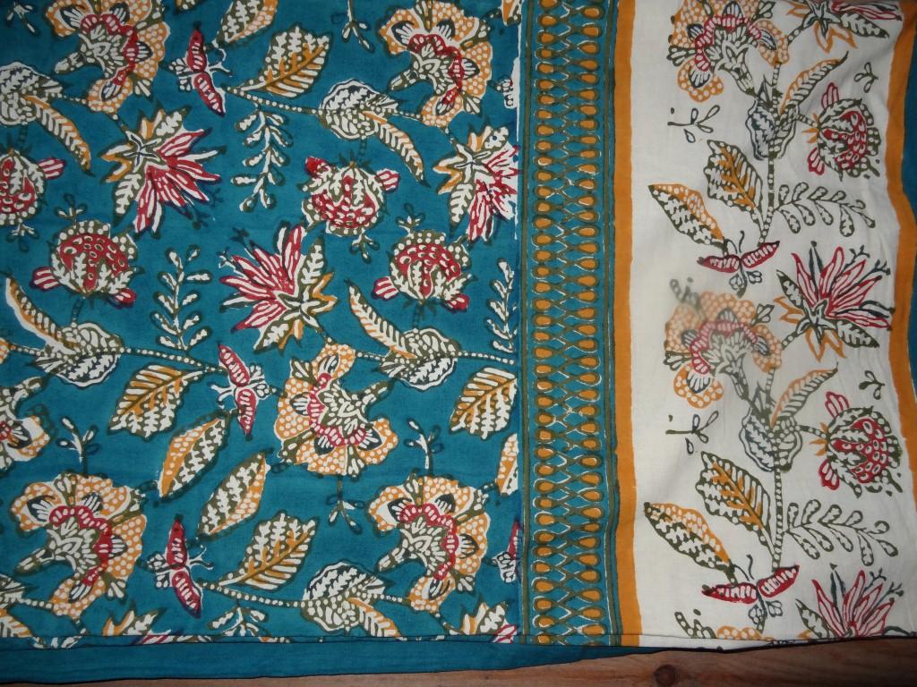 Indian block print tablecloth or bedspread
