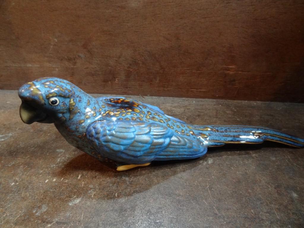 Blue ceramic parrot (female)