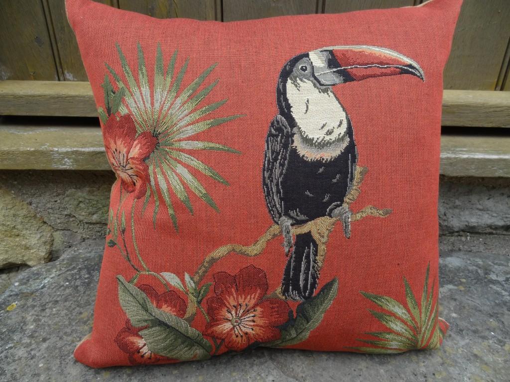 "Terracotta ""Toucan"" cushion"