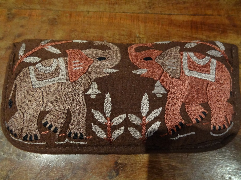 """Hand embroidered """"elephant"""" spectacle case made in Bangladesh."""