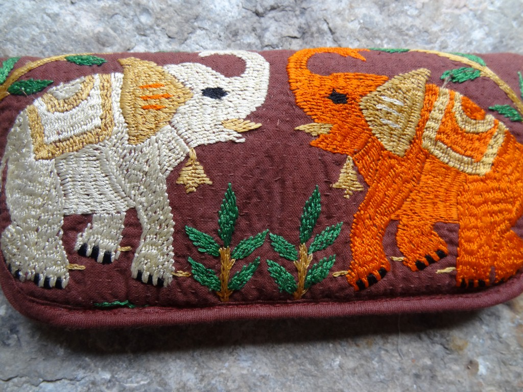 "Hand embroidered ""elephant"" spectacle case made in Bangladesh."