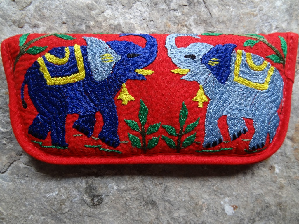 """Hand embroidered """"elephant"""" spectacle case"""