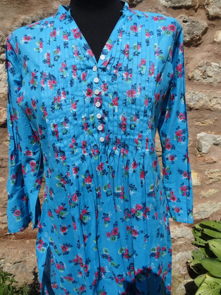 Turquoise Indian Cotton Kaftan Top Sandys Oriental Carpets