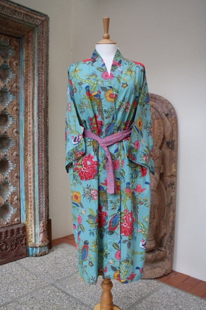 Indian cottonTurquoise and pink bird design kimono dressing gown